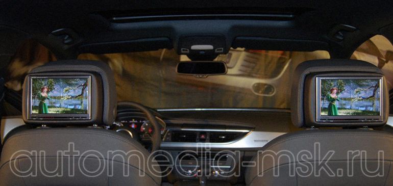 Установка дополнительных мониторов в Audi Q7